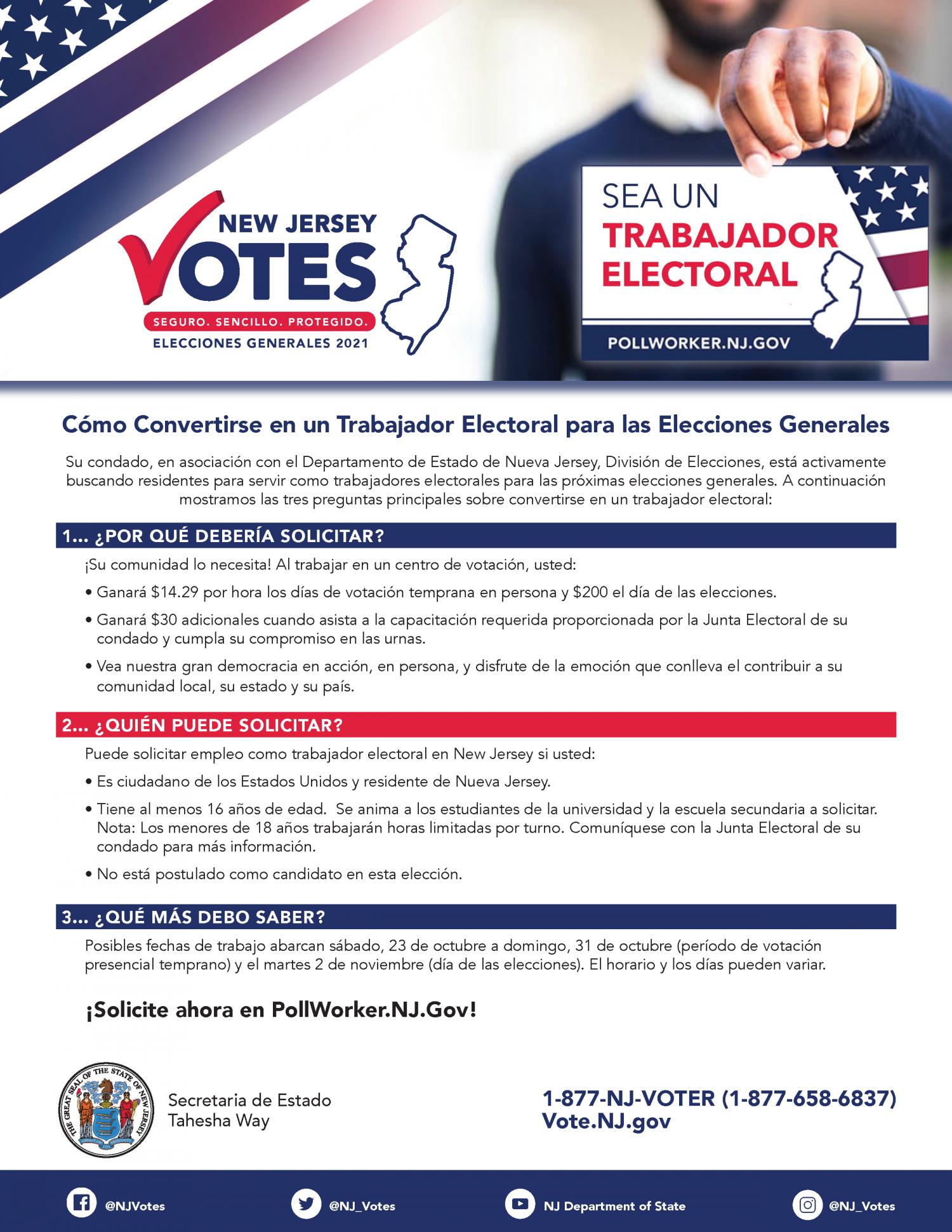 Cómo Convertirse en un Trabajador Electoral para las Elecciones Generales 877-658-6837